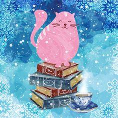 77876e7c64dc34fa5e169987d763a114--pink-cat-winter-art